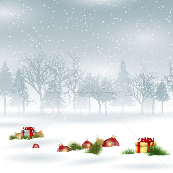 Christmas background with baubles and gifts Stock photo © kjpargeter