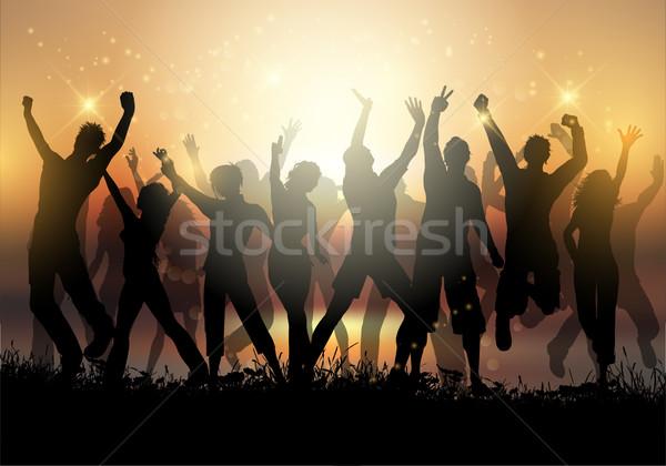 Naplemente buli sziluettek csoportkép tánc égbolt Stock fotó © kjpargeter
