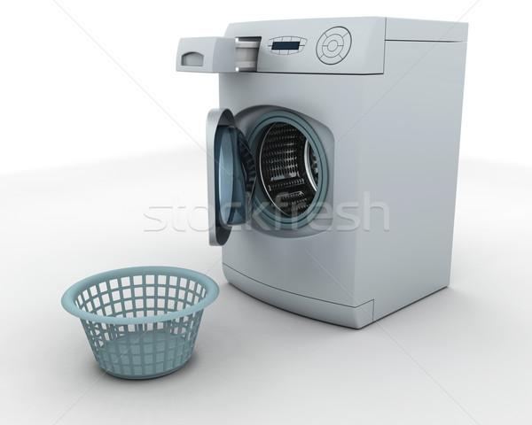 Stock photo: washing machine and laundry basket