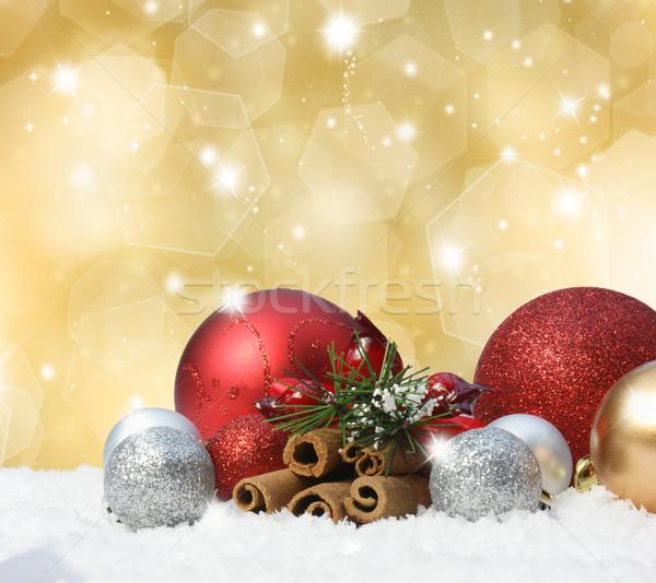 Stockfoto: Christmas · sneeuw · goud · achtergrond · winter · star