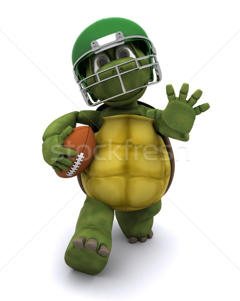 Tortoise running with an american football Stock photo © kjpargeter