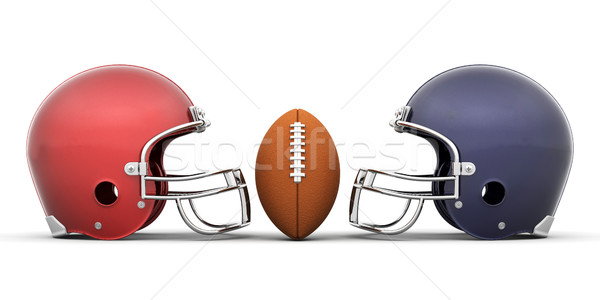 Football casques rendu 3d sport balle Photo stock © kjpargeter