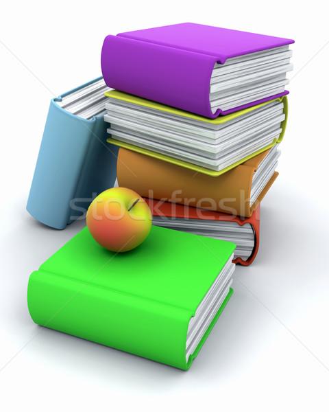Stock fotó: Vissza · az · iskolába · 3d · render · alma · könyvek · könyv · oktatás
