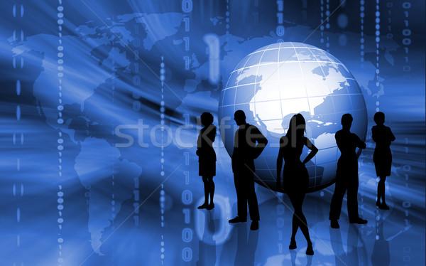 Zakenlieden silhouetten business team binair wereldbol business Stockfoto © kjpargeter