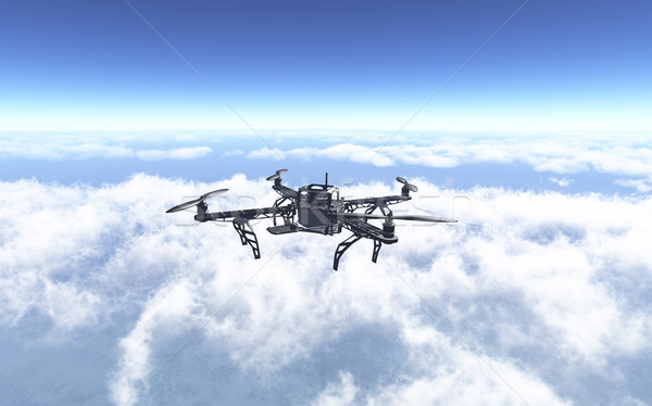 3D drone flying above the clouds Stock photo © kjpargeter