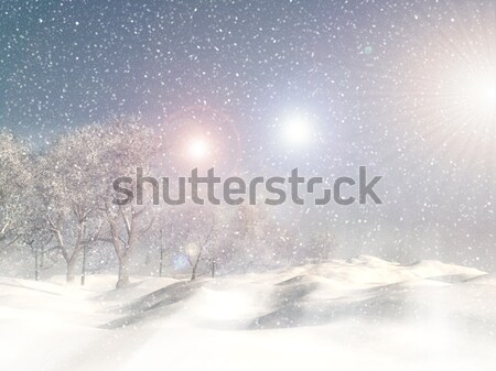 Retro 3D Christmas winter scene Stock photo © kjpargeter