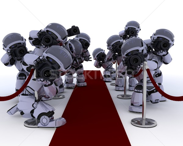 Robot paparazzi tapis rouge rendu 3d star avenir Photo stock © kjpargeter