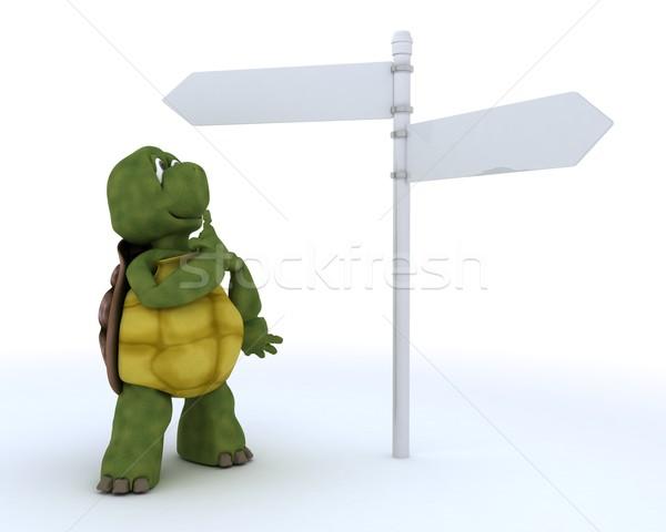 черепаха знак пост 3d визуализации океана Сток-фото © kjpargeter
