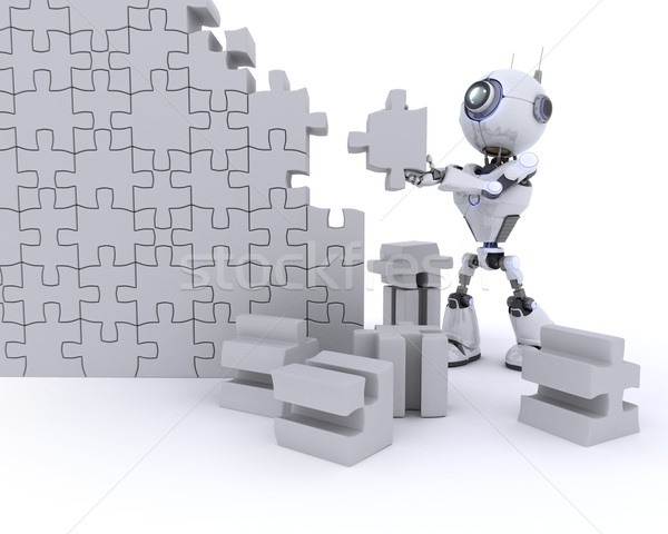 Robot with Jigsaw puzzle Stock photo © kjpargeter