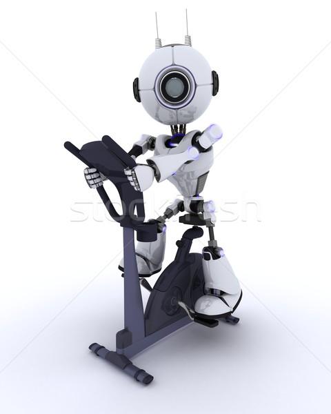 Robot spor salonu egzersiz bisiklet 3d render adam Stok fotoğraf © kjpargeter