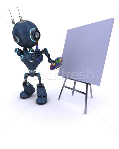 Android pędzlem palety 3d człowiek farby Zdjęcia stock © kjpargeter