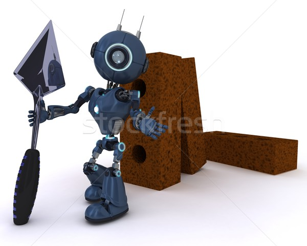 Android with bricks and trowel Stock photo © kjpargeter