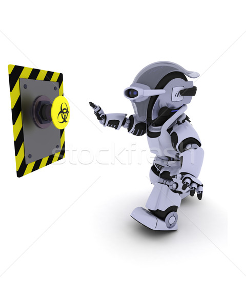 Robot pushing a button Stock photo © kjpargeter