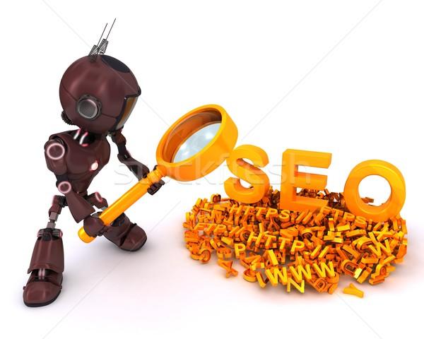 Android keresőmotor 3d render férfi keresés gép Stock fotó © kjpargeter