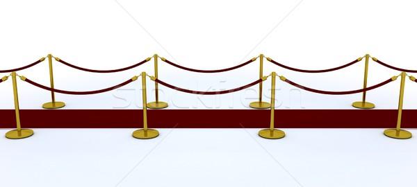 Vörös szőnyeg bársony kötél 3d render Stock fotó © kjpargeter