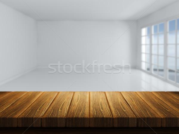 Tavolo in legno stanza vuota immagine rendering 3d panorama home Foto d'archivio © kjpargeter