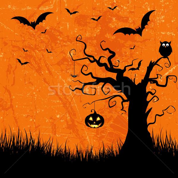 Grunge halloween estilo lanterna coruja árvore Foto stock © kjpargeter