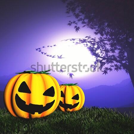 Halloween pumpkin landscape Stock photo © kjpargeter