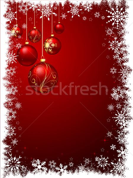 Dekoratív karácsony akasztás absztrakt hó háttér Stock fotó © kjpargeter