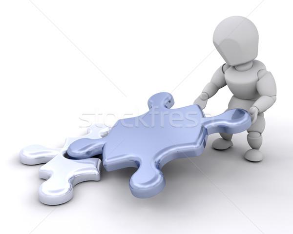 Człowiek puzzle kawałek 3d ktoś Zdjęcia stock © kjpargeter