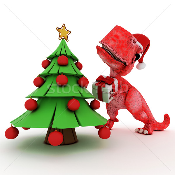 Friendly Cartoon Dinosaur with gift christmas tree Stock photo © kjpargeter
