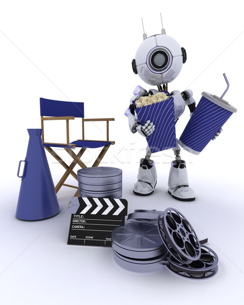 Robot in directors chair with megaphone Stock photo © kjpargeter