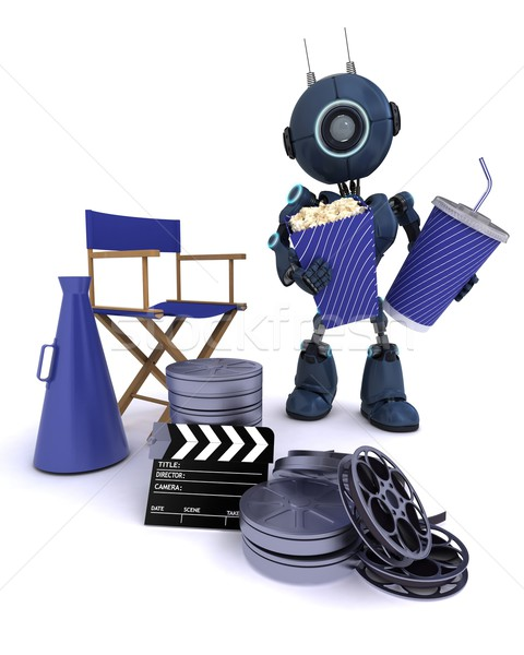 Stock photo: Android with directors chair popcorn and soda