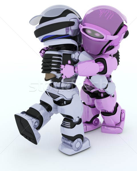 Robots danse de salon rendu 3d homme danse robot Photo stock © kjpargeter