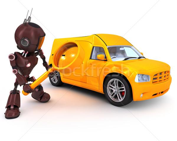 Android arama kamyonet 3d render araba arama Stok fotoğraf © kjpargeter