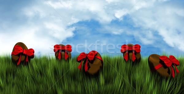 Húsvéti tojások tavasz mező 3d render íjak Stock fotó © kjpargeter
