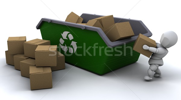 man recycling card boxes in skip Stock photo © kjpargeter