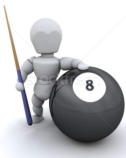 man with 8 ball and pool cue Stock photo © kjpargeter