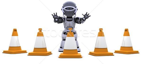 Stockfoto: Robot · verkeer · 3d · render · weg · bouw · toekomst