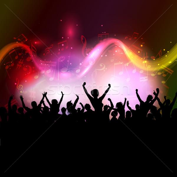 Photo stock: Public · notes · de · musique · silhouette · excité · coloré · musique