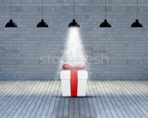 üres szoba karácsony ajándék 3d render meglepetés fény Stock fotó © kjpargeter