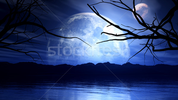 3D haunting background with moon, planet and tree silhouette Stock photo © kjpargeter
