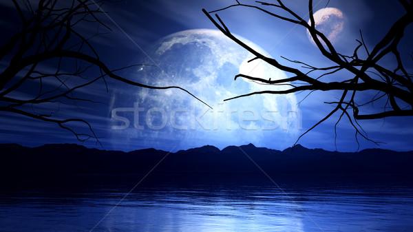 Stockfoto: 3D · maan · planeet · boom · silhouet · 3d · render