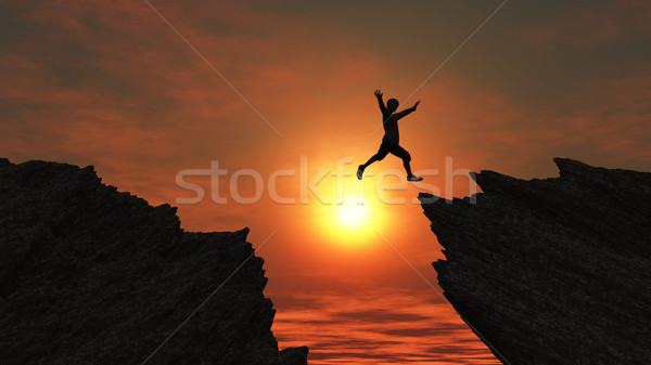 3D male figure jumping on mountains Stock photo © kjpargeter