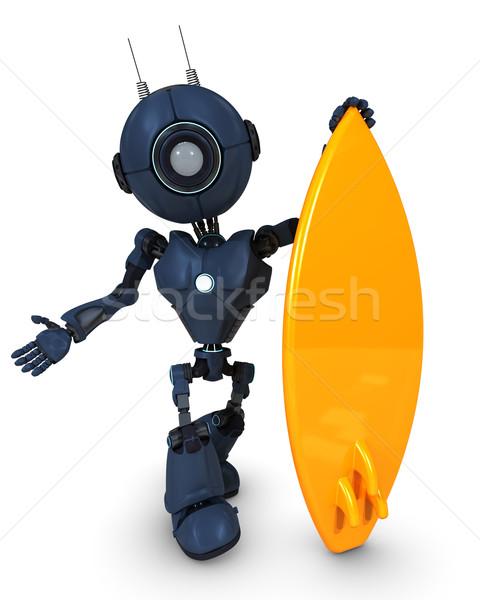 Android szörfös 3d render tengerpart férfi tenger Stock fotó © kjpargeter
