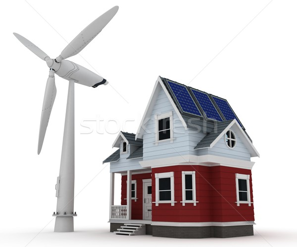 Solar panels on a house with wind turbine Stock photo © kjpargeter