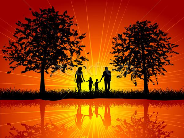 Family walking Stock photo © kjpargeter