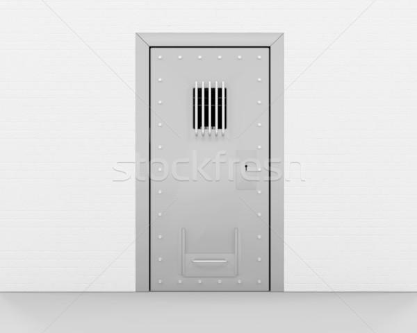 Hapis kapı 3d render Metal güvenlik bar Stok fotoğraf © kjpargeter