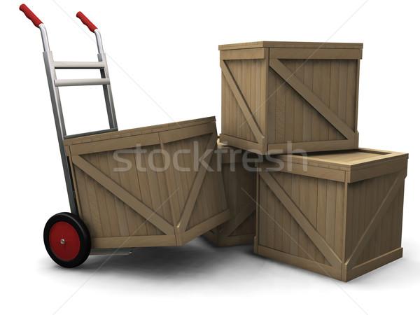 Zdjęcia stock: Strony · ciężarówka · 3d · tle · stanie · koszyka