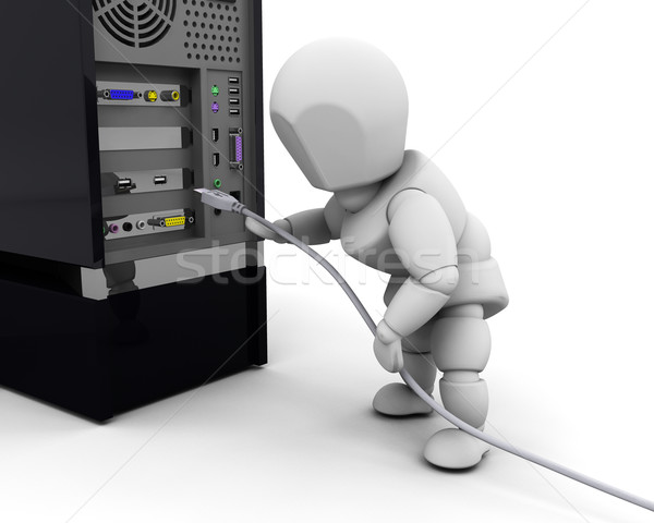 Person plugging in cable Stock photo © kjpargeter