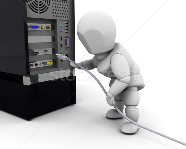 人 ケーブル 3dのレンダリング コンピュータケーブル コンピュータ 女性 ストックフォト © kjpargeter