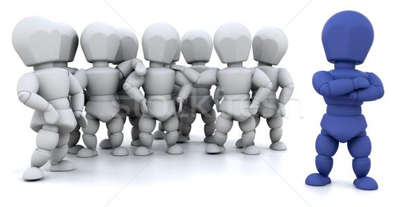 Chef d'équipe rendu 3d groupe de gens femme homme Photo stock © kjpargeter