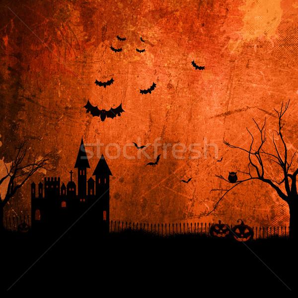 Grunge halloween detalhado laranja casa Foto stock © kjpargeter