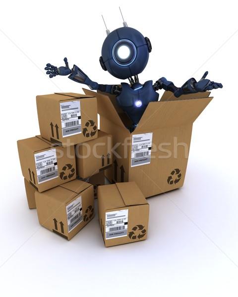 Android szállítás dobozok 3d render Stock fotó © kjpargeter