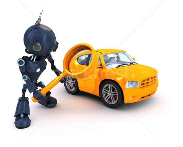 Android keres autó 3d render internet robot Stock fotó © kjpargeter