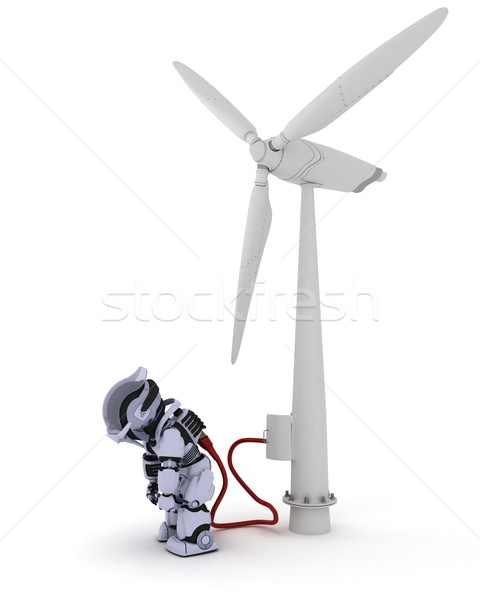 Robot recharging by wind turbine Stock photo © kjpargeter